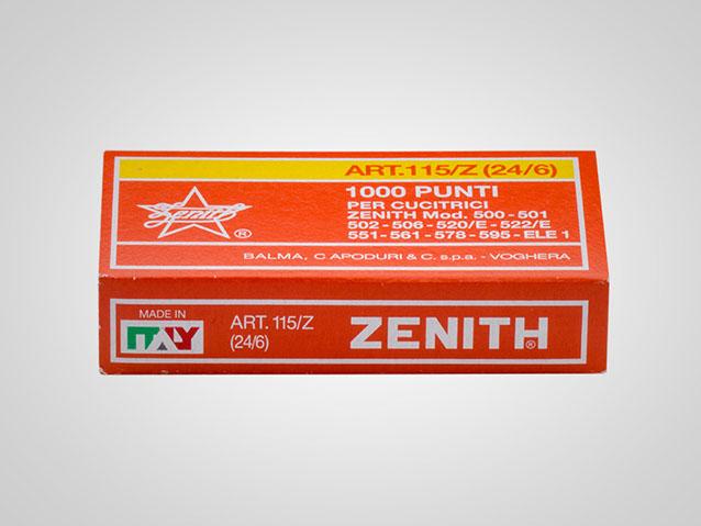 Punti metallici in ACCIAIO ZINGATO ZENITH 130//Z BIS confezione da 5000 punti per cucitrici Zenith modello 548 e 590